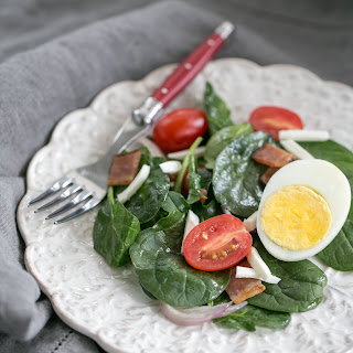 Easy Spinach Salad with Bacon, Eggs and Tomatoes.