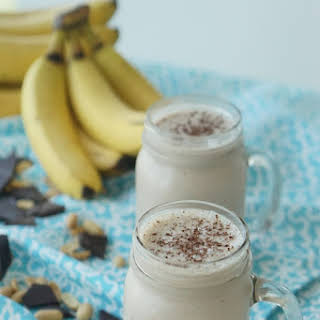 Healthy Peanut Butter Chocolate Smoothie with Banana and Flax.