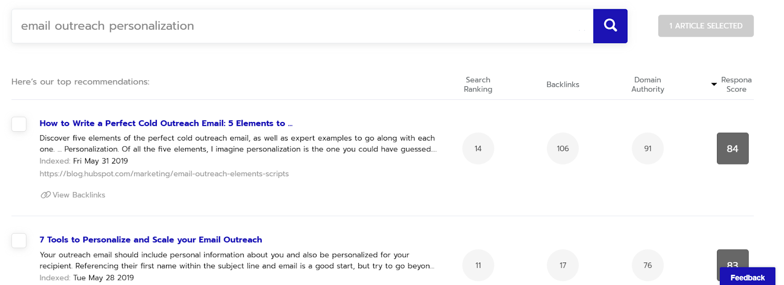 """Searching """"Email Outreach Personalization"""" in Respona content search step."""