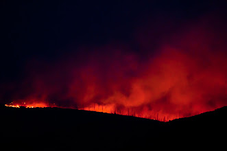 Photo: Ridge fire - although the flames are mostly on the other side of the ridge, the glowing sky seems like hell on earth; Las Conchas fire, 2011