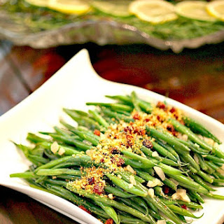 Sauteed Green beans with Lemony Chorizo Breadcrumbs