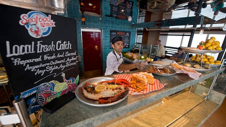New dishes on display at the Seafood Shack on Carnival Vista.