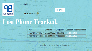 Screenshot of Plan B - Track Lost Phone