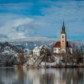 by Mario Horvat - Buildings & Architecture Public & Historical ( water, sneg, touristic, winter, slovenija, church, snow, slovenia, bled, lake, travel, jezero, island,  )