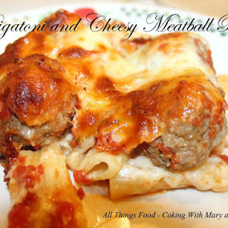 Rigatoni and Cheesy Meatball Bake