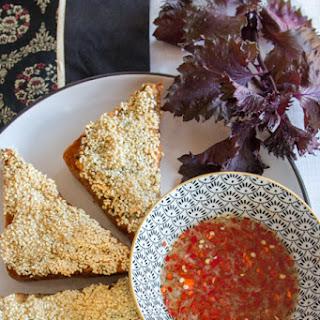 Shiso Sesame Prawn Toast with Vietnamese Nuoc Cham