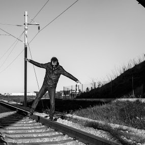Balance by Miguel  Galvão - Novices Only Street & Candid ( alentejo, white, road, tracks, lima, and, pedro, évora, miguel, rail, train, portugal, galvão, black )