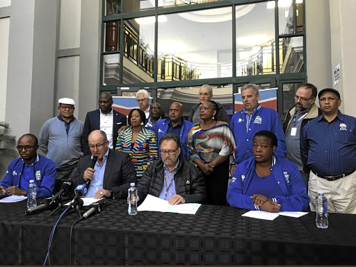 DA leaders brief journalists at the party's offices in Bruma, Johannesburg, yesterday.