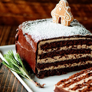 Chocolate Gingerbread Cake with Gingerbread Italian Frosting