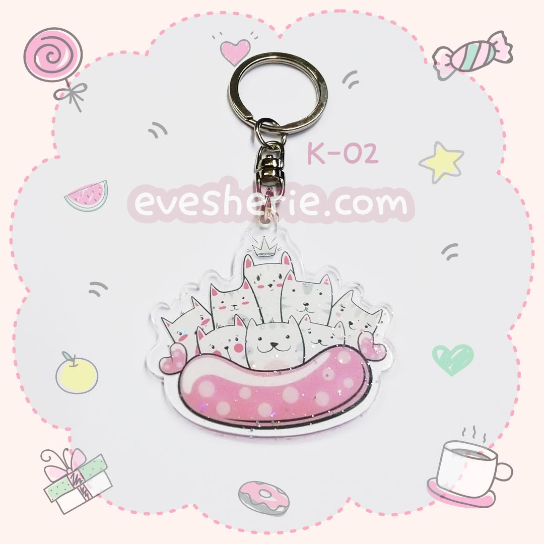 พวงกุญแจน่ารัก พวงกุญแจแมว พวงกุญแจอะคริลิคลายแมว