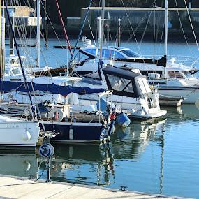 by Bradley Foot - Transportation Boats ( reflections, dock, water, boat, canon )