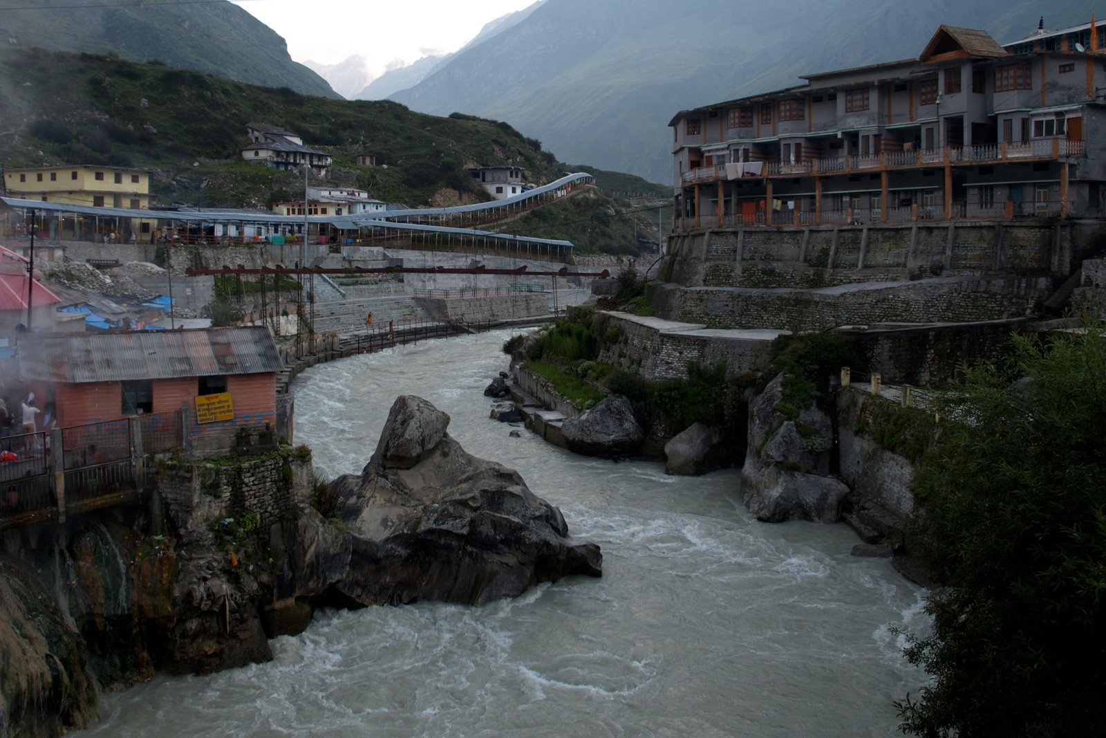 Photo: from the bridge connecting Badrinath temple and town.