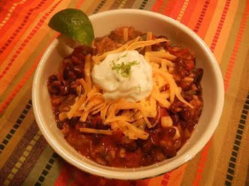 "Spicy Southwestern Black Bean Chili w/Lime Scented Sour Cream ""This is the best..."