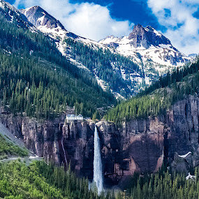 Bridal Veil Falls by Matt Workman - Landscapes Mountains & Hills ( mountain, waterfall, colorado, travel, landscape, hiking, mountains, road trip, snow, summer, landscape photography, landscapes, travel photography, hike,  )