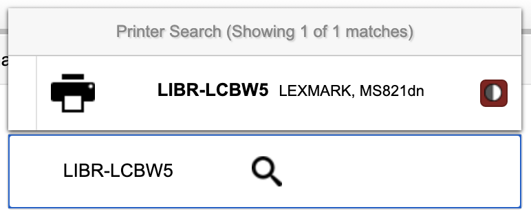 Selecting LIBR-LCBW5 by searching for the printer in UPrint.