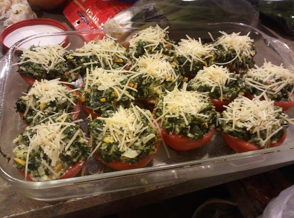 Remove from heat then fill each tomato half with spinach mixture. Divide evenly ...