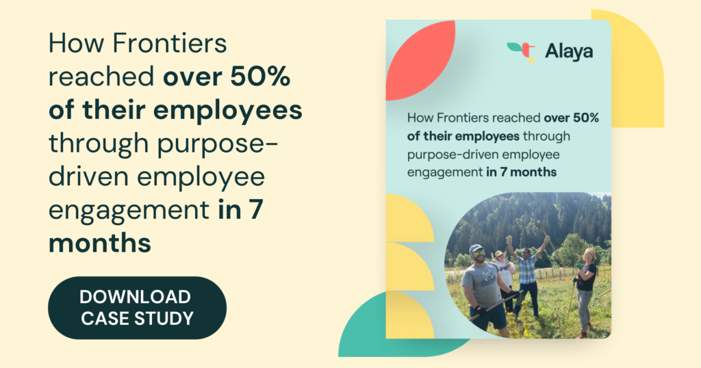 Image shows how Frontiers utilised Alaya's corporate volunteering policy to give back to the community.