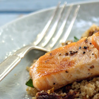 Pan-seared Salmon with Sundried Tomato Couscous.
