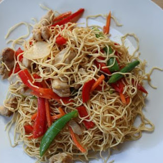 Chinese Style Chicken and Noodle Stir Fry.