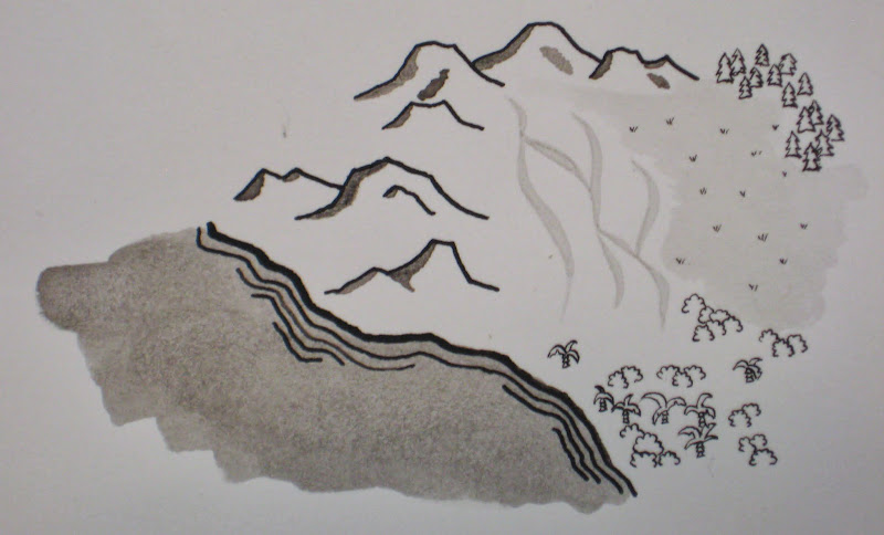 Photo: Some studies of terrain types (ocean, mountains, desert, grassland, and various forest styles)