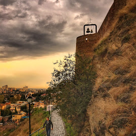 Twin Bell by Leyon Albeza - Instagram & Mobile iPhone ( travel photography, cobblestone, walking, sunset, traveling, travel, landscape )