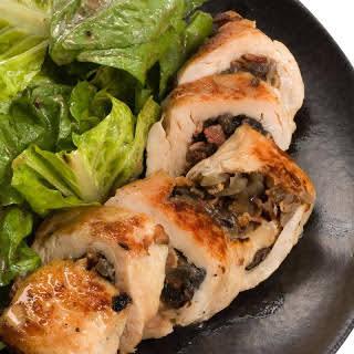 Mushroom-Stuffed Chicken with White Wine Sauce.