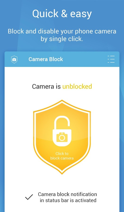 Camera Block - Spyware protect Screenshot 1