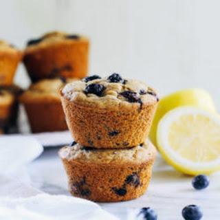 Vegan and Gluten-free Blueberry Lemon Muffins.
