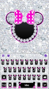 Silver Pink Minny Keyboard Theme - náhled