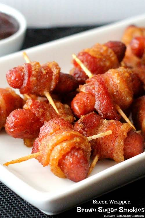 """Bacon Wrapped Brown Sugar Smokies""""The epitome of party food these kickin' Bacon..."""
