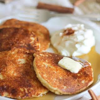 Crispy Cinnamon Swirl Paleo Pancakes.