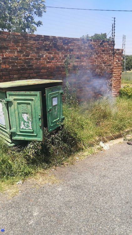 A mini-substation caught fire after a suspected cable thief allegedly tampered with it, leaving the East Town area without power.