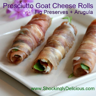 Prosciutto Goat Cheese Rolls with Fig Preserves and Arugula.