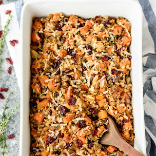 Chicken and Wild Rice Casserole with Butternut Squash and Cranberries.