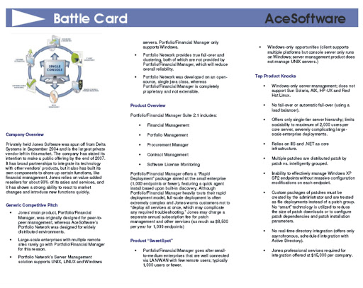 Example battlecard used by AceSoftware