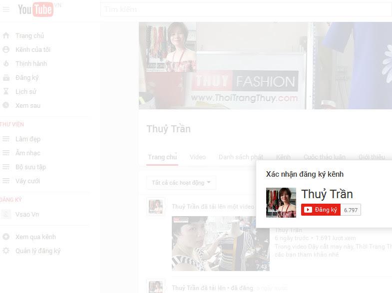 Cách ĐăngKý Kênh Youtube Thủy Trần