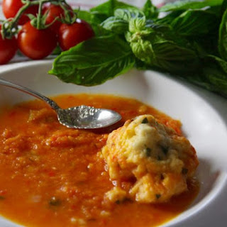 Chunky Tomato Soup with Basil Dumplings