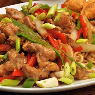 Pork Lo Mein With Ramen Noodles.
