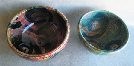 Photo: The yellow ocher was the surprisingly the strongest mix, I had been more cautious with the cobalt blue and the iron black, but it was the ocher/rutle that 'ate' the top glaze most, interesting. Copper glaze cone 10 Left reduction / right oxidation.
