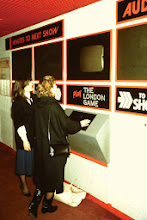 """Photo: Electrosonic's first computer interactive display, """"The London Game,"""" at the """"London Experience"""" tourist attraction in 1977."""