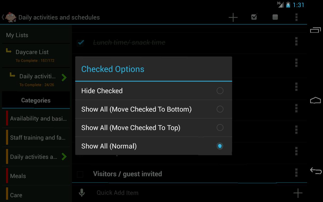 Daycare checklist- screenshot
