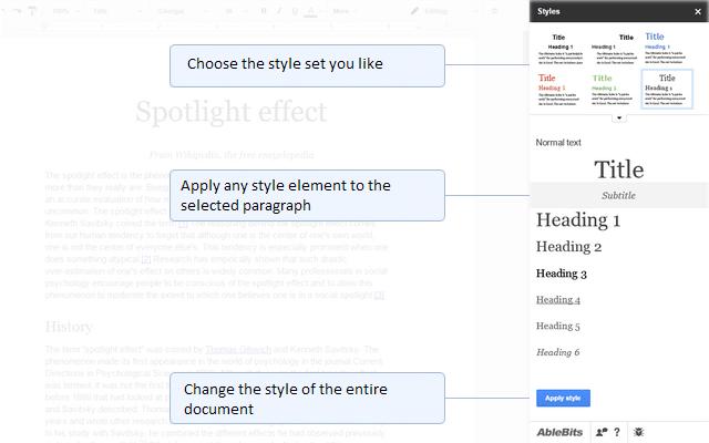 расширение со стилями для гугл документов