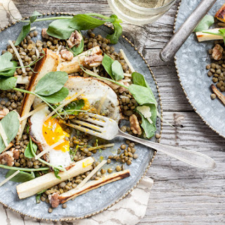 Parsnip, Lentil & Walnut Salad with Fried Eggs