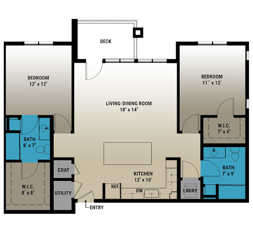 Westchester Floorplan (2 Bed, 2 Bath)