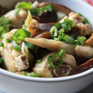 Steamed Chicken and Shiitake Mushrooms.
