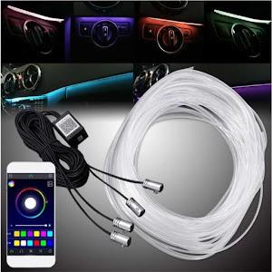 Lumini ambientale auto 6M neon RGB, aplicatie prin Bluetooth