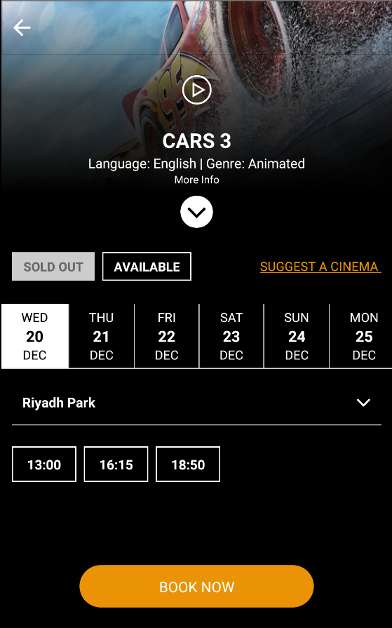 Saudi Cinema Tickets- screenshot