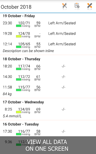 Blood Pressure Log - MyDiary 1.4.6 screenshots 2