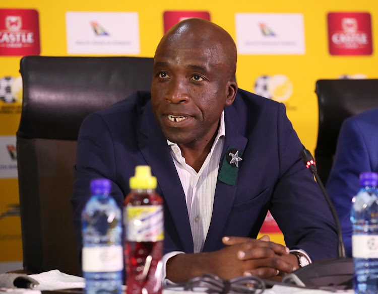 SA Under-23 head coach David Notoane addresses the media during a press conference at Safa House at Nasrec, south of Johannesburg on May 21 2019.