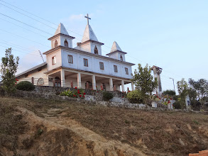 Photo: This large Tening village church is nearby to Tening town where we were ministering. We walked here for remembrance sake. It was here at this church two years ago that I first met Ngulie Rentta as MTM was only passing through at that time. We had a short praise and thanksgiving time here thanking the Lord for bringing us all together in His sovereign ways.